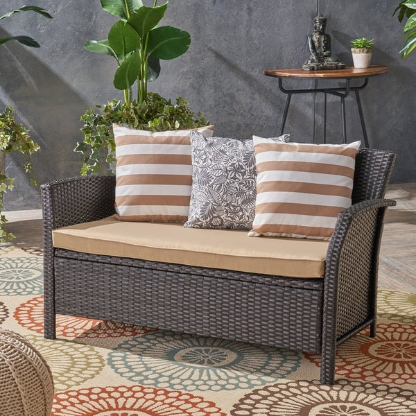 St. Lucia Outdoor Wicker Loveseat by Christopher Knight Home. Opens flyout.
