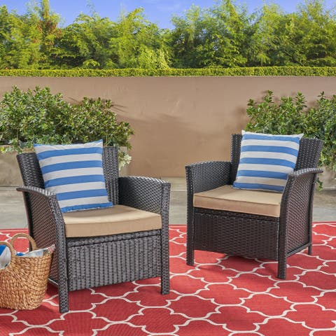 St. Lucia Outdoor Wicker Club Chairs (Set of 2)by Christopher Knight Home