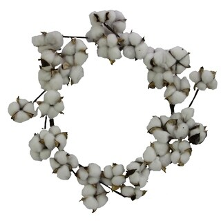Admired By Nature Faux Cotton Balls Front Door and Wall Wreath