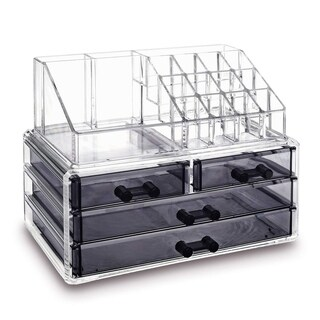 Ikee Design Jewelry and Makeup Organizer 2-pieces Set Clear and Black