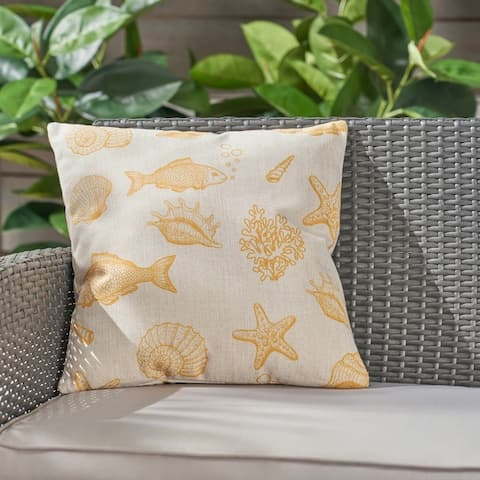 """Seaside Outdoor Water Resistant 18"""" Square Pillow by Christopher Knight Home"""