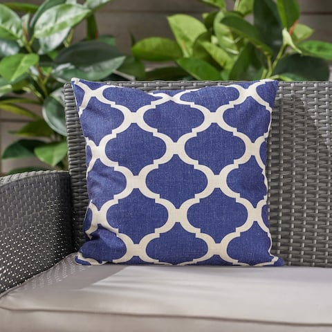 "Fundy Water Resistant 18"" Square Pillow by Christopher Knight Home - Blue"