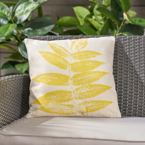 """Pinnate Leaves Outdoor Water Resistant 18"""" Square Pillow by Christopher Knight Home"""