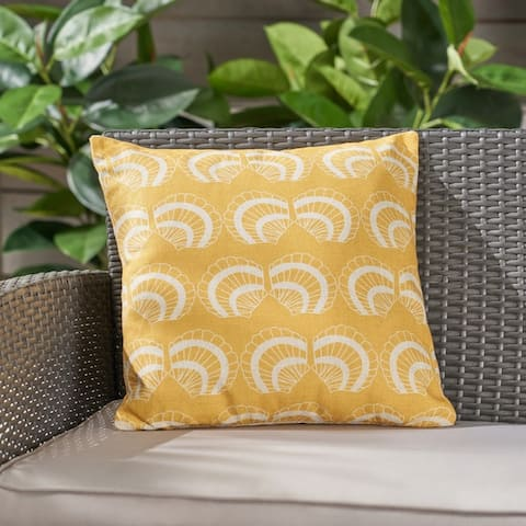 """Seashells Outdoor Water Resistant 18"""" Square Pillow by Christopher Knight Home"""