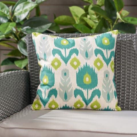 """Floral Outdoor Water Resistant 18"""" Square Pillow by Christopher Knight Home"""