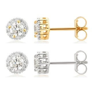 Divina 14KT White and Yellow Gold 1/2ct TDW Diamond Halo Stud Earrings