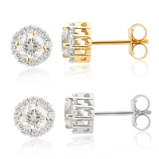 Divina 14KT White and Yellow Gold 1.0ct TDW Diamond Halo Stud Earrings