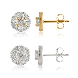 Divina 14KT White and Yellow Gold 3/4ct TDW Diamond Halo Stud Earrings