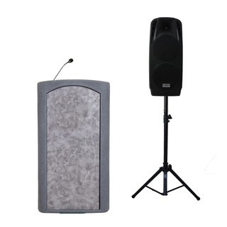 "Audio Systems Group Accent Classic Freedom Dual 10"" Pulpit Podium Lectern - Gray with Stained Glass Front"