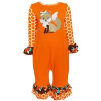 AnnLoren Baby and Toddler Girls Boutique Foxy Floral Romper Outfit