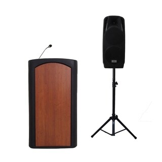 "Audio Systems Group Accent Classic Freedom Dual 10"" Pulpit Podium Lectern - Black with Stained Glass Front"