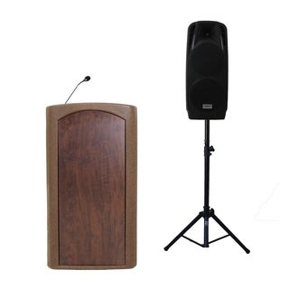 "Audio Systems Group Accent Classic Freedom Dual 10"" Pulpit Podium Lectern - Bronze with Stained Glass Front"