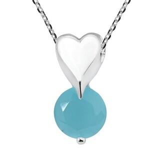 Handmade Modern Heart Round Cubic Zirconia Necklace (Thailand)