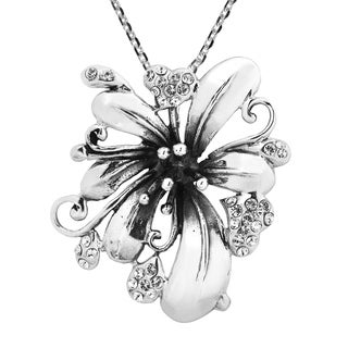 Handmade Cubic Zirconia Blossom Sterling Silver Necklace (Thailand)