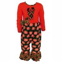AnnLoren Baby Girls Christmas Red and Black Poinsetta & Plaid Romper