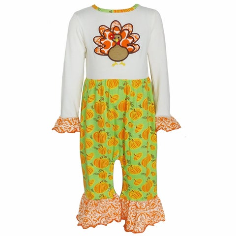 AnnLoren Baby Girl Thanksgiving Turkey and Pumpkin Romper Outfit