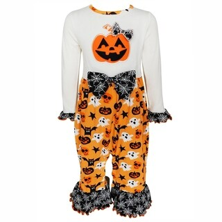 AnnLoren Baby Girls Jack-O'-Lantern Pumpkin Halloween Knit Romper