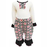 AnnLoren Baby Girls Knit Floral Lattice and Polka Dot Romper
