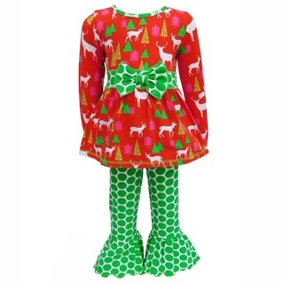 AnnLoren Girls Red Deer and Green Polka Dot Two-Piece Outfit Set