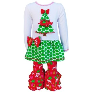 AnnLoren Girls Christmas Tree with Dots and Bow 2-Piece Outfit Set