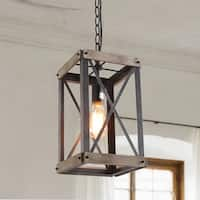 LNC Black Wood/Metal 1-light Rustic Foyer Pendant