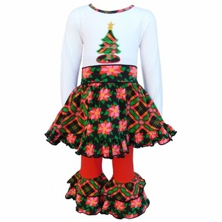 AnnLoren White Jersey Plaid Christmas Tree and Skirt with Red Leggings