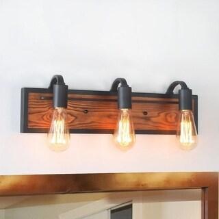 LNC 3-Light Rustic Wall Lighting Black Wall Lamps Wood Wall Sconces