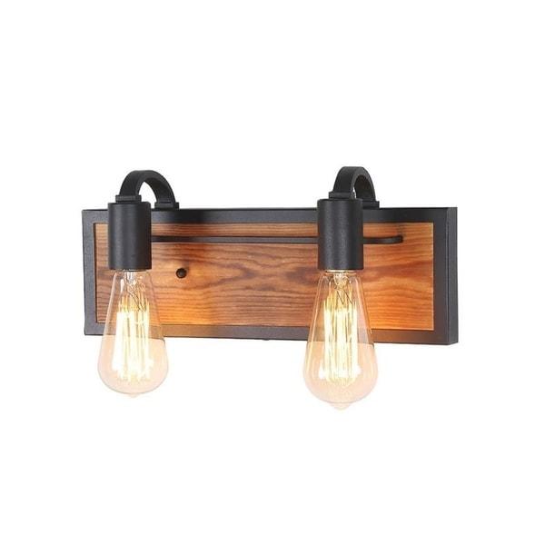 Shop LNC 2-Light Rustic Wall Lighting Black Wall Lamps ... on Wood Wall Sconces Decorative Lighting id=61319