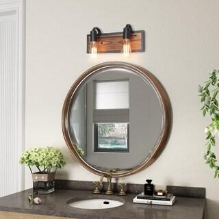 LNC 2-Light Rustic Wall Lighting Black Wall Lamps Wood Wall Sconces