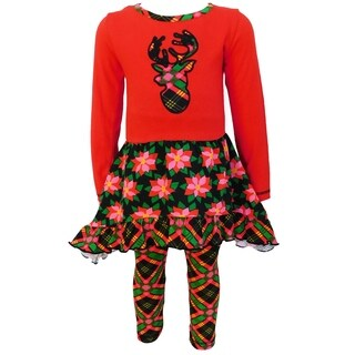 AnnLoren Christmas Red and Black Poinsetta & Plaid Dress Set