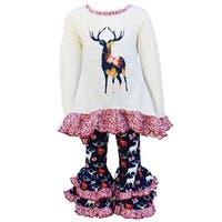 Christmas Navy High Low Style Reindeer & Polka Dot Set