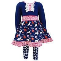 AnnLoren Girls Boutique Navy Blue Deer and Dots 2-Piece Outfit Set