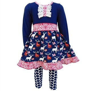 AnnLoren Girls Boutique Navy Blue Deer and Dots 2-Piece Outfit Set