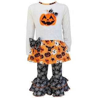 AnnLoren Girls Halloween Jack O' Lantern Top and Spider Web Pant Set