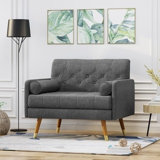 Eugene Fabric Mid-Century Modern Home Office Chair by Christopher Knight Home (Dark Gray/Dark Walnut)