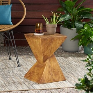 Tess Outdoor Light Weight Concrete Side Table By Christopher Knight Home