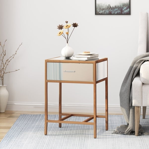 Kimora Modern Faux Wood Side Table with Tempered Glass Top by Christopher Knight Home