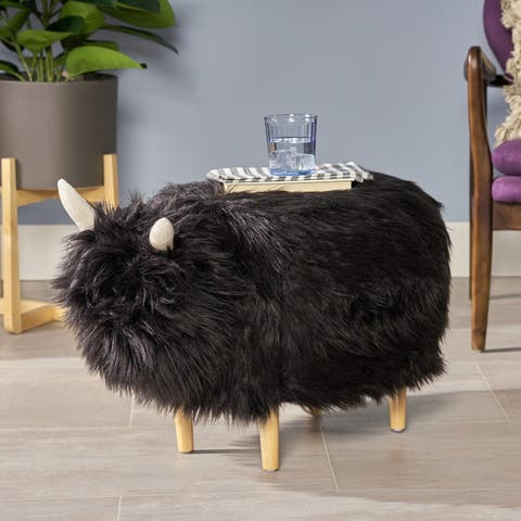 Levi Furry Yak Ottoman by Christopher Knight Home - N/A