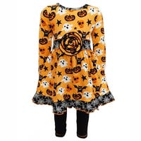 AnnLoren Girls Halloween Jack-O'-Lantern Dress and Legging Outfit Set