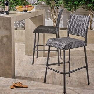 Doris Outdoor Wicker Barstool by Christopher Knight Home - N/A