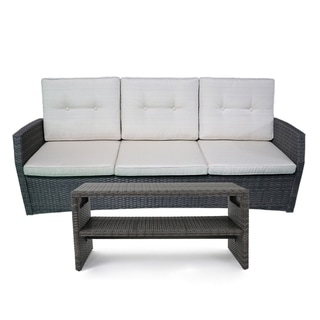 Sanger Outdoor Wicker 3 Seater Sofa and Coffee Table Set by Christopher Knight Home (Grey/Beige)