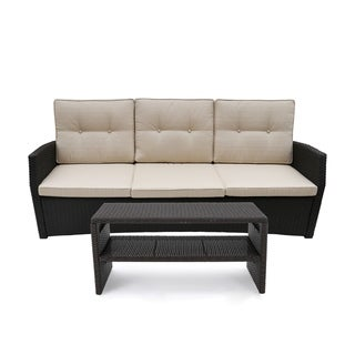 Sanger Outdoor Wicker 3 Seater Sofa and Coffee Table Set by Christopher Knight Home (Beige/Dark brown)