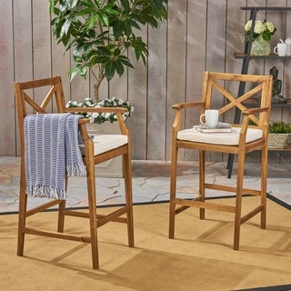 Perla Outdoor Acacia Wood Barstool by Christopher Knight Home (Set of 2) - N/A