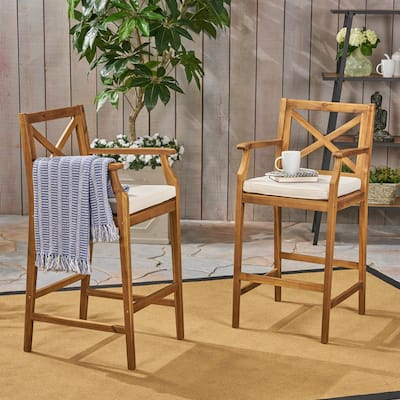 Perla Outdoor Acacia Wood Barstool by Christopher Knight Home (Set of 2)