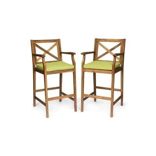 Perla Outdoor Acacia Wood Barstool by Christopher Knight Home (Set of 2) (Green/Teak)