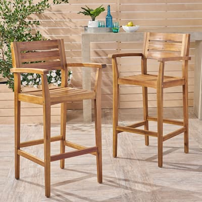 Stamford Outdoor Rustic Acacia Wood Barstool (Set of 2) by Christopher Knight Home
