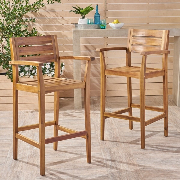 Stamford Outdoor Rustic Acacia Wood Barstool (Set of 2) by Christopher Knight Home. Opens flyout.