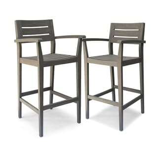 Stamford Outdoor Acacia Wood Barstool by Christopher Knight Home (Grey)