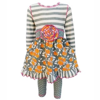 AnnLoren Original Floral and Striped Dress with Polka Dot Leggings Set (More options available)
