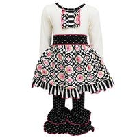 AnnLoren Original Floral Lattice Dress with Polka Dot Ruffled Pant Set